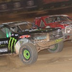 Johnny Greaves slides to the inside of Mark Jenkins during Friday's PRO 4 race as part of the TORC event at The Dirt Track at Charlotte Motor Speedway. (Adam Fenwick Photo)