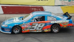Jeff Holtz on his way to scoring his first ever Mid American Stock Car Series victory. (Stan Kalwasinski Photo)
