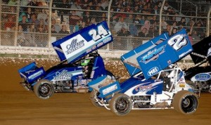 Rico Abreu (24) and Logan Forler line up for the start of Saturday's King of the West sprint car feature at Placerville (Calif.) Speedway. (Donna Peter photo)