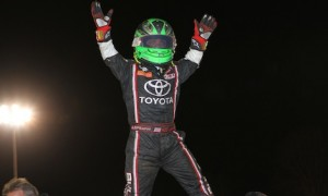 Rico Abreu celebrates winning Friday night's Kokomo Kickoff USAC midget race. (Gordon Gill photo)
