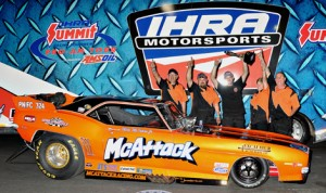 Mike McIntire Jr. earned his first IHRA Nitro Jam Drag Racing Series victory in the Nitro Funny Car class Saturday at Bradenton Motorsports Park. (IHRA Photo)