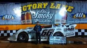 Adam Beeler in victory lane Saturday at 411 Motor Speedway.