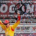 Joey Logano celebrates after winning Monday's NASCAR Sprint Cup Series race at Texas Motor Speedway. (NASCAR Photo)