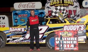 Jack Nosbisch Jr. was able to hold off Bryan Bernhardt to pick up first win of the 2014 season at East Bay Raceway Park in the late-model division. (Mike Horne Photo)