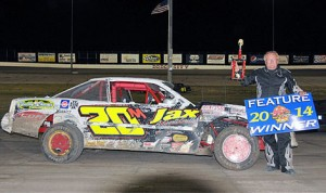 Perry Misner won Saturday's 25-lap IMCA Great Plains Stock Car feature at Dodge City Raceway Park. (The Wheatley Collection Photo)