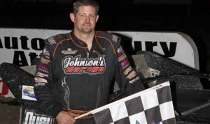 Jason Fitzgerald won Saturday's 50-lap late-model event at East Bay Raceway Park. (R.E. Wing Photo)