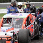 Ryan Preece makes a pit stop during NASCAR Whelen Modified action on Sunday at Stafford (Conn.) Motor Speedway. (Dick Ayers photo)