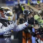 Lewis Hamilton celebrates after winning Sunday's formula One Bahrain Grand Prix. (Steve Etherington Photo)