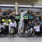 Lewis Hamilton celebrates with his Mercedes team after winning Sunday's Bahrain Grand Prix. (Steve Etherington Photo)