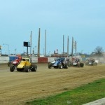 The USAC Silver Crown Series field prepares to go racing Sunday night at the Terre Haute (Ind.) Action Track. (Dave Heithaus Photo)