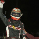 Kody Swanson celebrates after winning Sunday's USAC Silver Crown Series opener at the Terre Haute (Ind.) Action Track. (Dave Heithaus Photo)