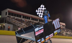 Morgan Turpen celebrates winning Saturday night's USCS sprint car feature at Southern National Motorsport Park. (Chris Seelman photo)