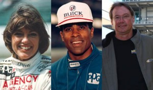 (From left) Lyn St. James, Willy T. Ribbs and Mark Dismore are the first three Indianapolis 500 veterans to commit to the Sportscar Vintage Racing Ass'n Indy Legends Pro-Am at Indianapolis Motor Speedway. (IMS Photos)