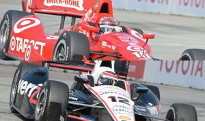 Tony Kanaan (top) and Will Power (bottom) both struggled during Verizon IndyCar Series qualifying Saturday in Long Beach, Calif. (IndyCar Photo)