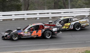 Bobby Santos III (44) battles Doug Coby during Sunday's NASCAR Whelen Modified Tour Spring Sizzler at Stafford Motor Speedway. (Dick Ayers Photo)