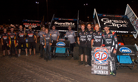 Kasey Kahne Racing teammates Daryn Pittman, Brady Sweet and Cody Darrah swept the World of Outlaws STP Sprint Car Series podium on Sunday night at Calistoga Speedway, becoming the first teammates in series history to finish an A-main 1-2-3. (Chris Dolack/World of Outlaws photo)