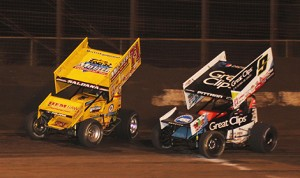 Joey Saldana (71m) fights off Daryn Pittman Saturday at Perris Auto Speedway. (Doug Allen photo)