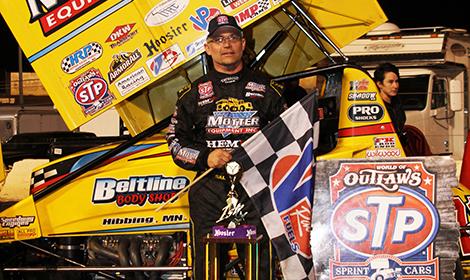 Joey Saldana in victory lane Saturday at Perris Auto Speedway. (Doug Allen photo)