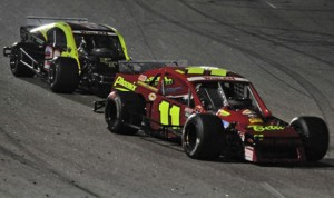 Andy Seuss (11) and George Brunnhoelzl III (28) have finished races one-two a total of 14 times, including six of the last eight NASCAR Whelen Southern Modified Tour events. (pixelcrisp for NASCAR Photo)