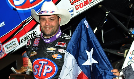 Donny Schatz after scoring his 150th World of Outlaws victory Friday at Devil's Bowl Speedway. (Boyd Adams photo)