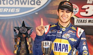 Chase Elliott in victory lane after winning the O'Reilly Auto Parts 300 at the Texas Motor Speedway in Fort Worth, Texas.  (HHP photo/Alan Marler)