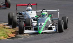 Skylar Robinson (8) leads Tim MInor during Saturday's F2000 Championship Series event at Road Atlanta. (F2000 Photo)