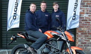 Gary Johnson with WK Bikes' managing director Mike Hinkley and sales manager Henry Maplethorpe.