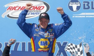 Cole Custer celebrates after winning the NASCAR K&N Pro Series East Blue Ox 100 Saturday morning at Richmond (Va.) Int'l Raceway. (NASCAR Photo)