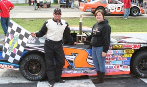 Devin Steele stands in victory lane after winning the late-model feature Sunday at Franklin County Speedway. (FCS Photo)