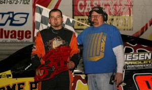 Jesse Sobbing was the $1,000 IMCA Xtreme Motor Sports Modified feature winner Thursday evening at Southern Iowa Speedway's  Frostbuster special. (Jim Zimmerline Photo)