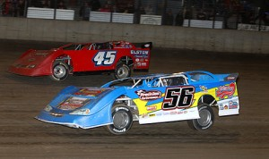 Andy Eckrich (56) won Friday night's Deery Summer Series late model opener at Iowa's Davenport Speedway. (Mike Ruefer photo)
