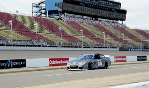 Dale Earnhardt Jr. prepares to take test runs as part of a two-day Goodyear Tire test at Michigan International Speedway in Brooklyn, Mich., on Wednesday.