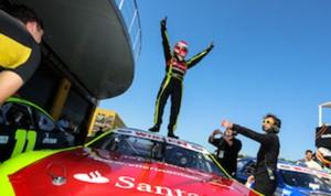Ander Vilarino celebrates his NASCAR Euro victory Sunday in Valencia, Spain. (NASCAR Euro photo)