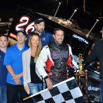 Aaron Pierce stands in victory lane after winning Friday's Must See Racing Xtreme Sprint Series feature at Five Flags Speedway. (Chris Seelman Photo)