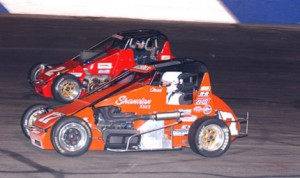 Darin Snider (2) held off Chad Nichols (17) to win his second the BCRA midget event of the year at Stockton 99 Speedway (M&M Photo)