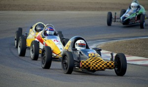 Brian McCarthy leads Terran Swanson in Formula Vee action during Saturday's SCCA Western Conference Majors Tour race at Buttonwillow Raceway. (Dennis Baer Photo)