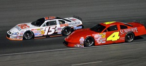 Brian Richardson (4) battles Lance Wilson during late-model action at Kern County Raceway Park on Saturday. (KCRP Photo)