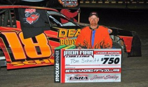 Tom Schmitt won Friday's USRA Stock Car feature at Lakeside Speedway in Kansas City, Kan. (John Lee Photo)