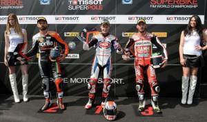 Jonathan Rea (center), Sylvain Guintoli (left) and Davide Giugliano were the fastest riders in Tissot-Superpole qualifying Saturday at Autodromo Enzo e Dino Ferrari. (World Superbike Photo)