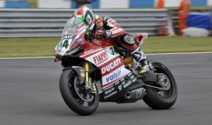 Davide Giugliano will start from the pole for Sunday's World Superbike event at Donington Park in England. (Ducati Photo)