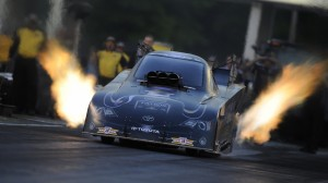 Alexis DeJoria makes her bid for the 100th win by a female in NHRA history on Sunday in Commerce, Ga. (NHRA photo)