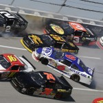 Cars crash during Saturday's NASCAR Nationwide Series race at Talladega (Ala.) Superspeedway. (HHP/Gregg Ellman Photo)