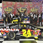 Jeff Gordon celebrates after winning Saturday's NASCAR Sprint Cup Series race at Kansas Speedway. (HHP/Rusty Jarrett Photo)