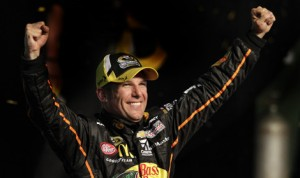 Jamie McMurray celebrates after winning his first NASCAR Sprint All-Star Race Saturday night at Charlotte Motor Speedway. (HHP/Gregg Ellman Photo)