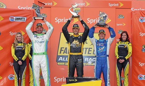 Clint Bowyer (left), Josh Wise (middle) and AJ Allmendinger will be in the Sprint All-Star race at Charlotte Motor Speedway in Concord, N.C on Saturday. (HHP/Harold Hinson photo)