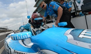 E.J. Viso, subbing for injured driver James Hinchcliffe, was fastest in Indianapolis 500 practice Tuesday before rain cut the day short. (IndyCar Photo)