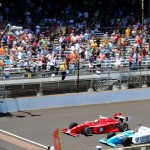 Gabby Chaves (5) nips Matthew Brabham at the finish line to win Friday's Indy Lights Freedom 100 at Indianapolis Motor Speedway. (IndyCar Photo)