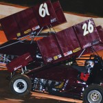 The father and son duo of Lukas Smith (26) and Don Smith during Friday's USCS Outlaw Thunder Tour race at 411 Motor Speedway. (Chris Seelman Photo)