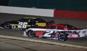 Donnie Wilson (2) battles Bubba Pollard at Montgomery Motor Speedway. (Chris Seelman photo)