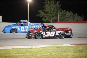 Johnny Pierre (38) and Jerry Bailey battle for position Saturday night at Rocky Mountain Raceways in Utah. (RMR photo)